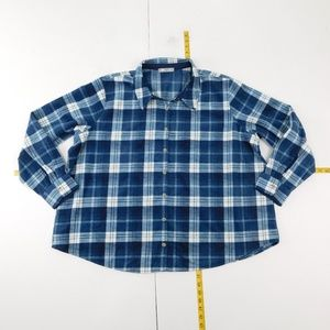 Riders by Lee 3X Blue Button Down Top Flannel D-2-